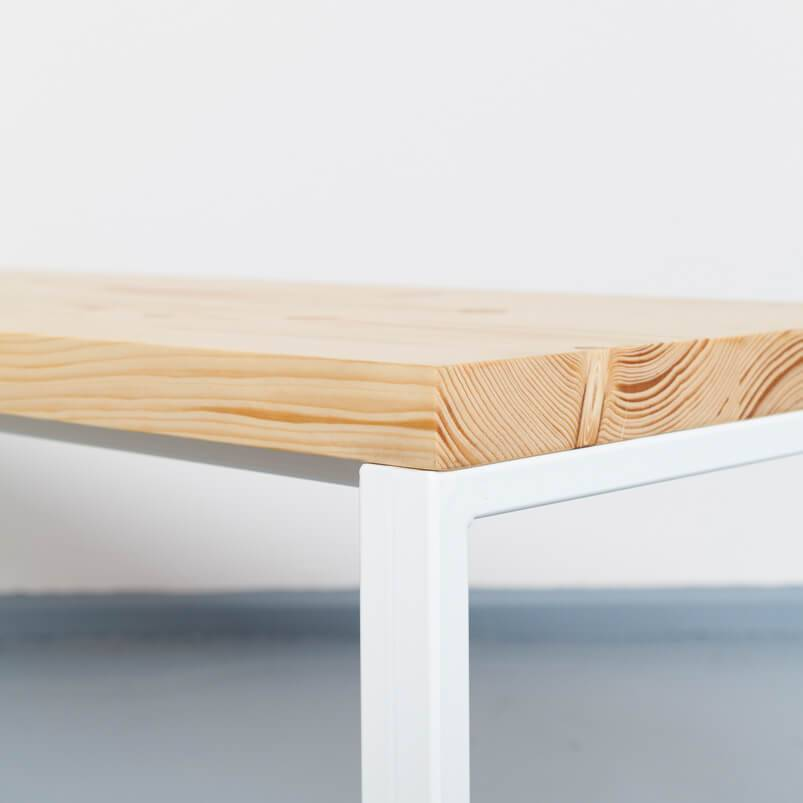Bench made from recycled timber and steel