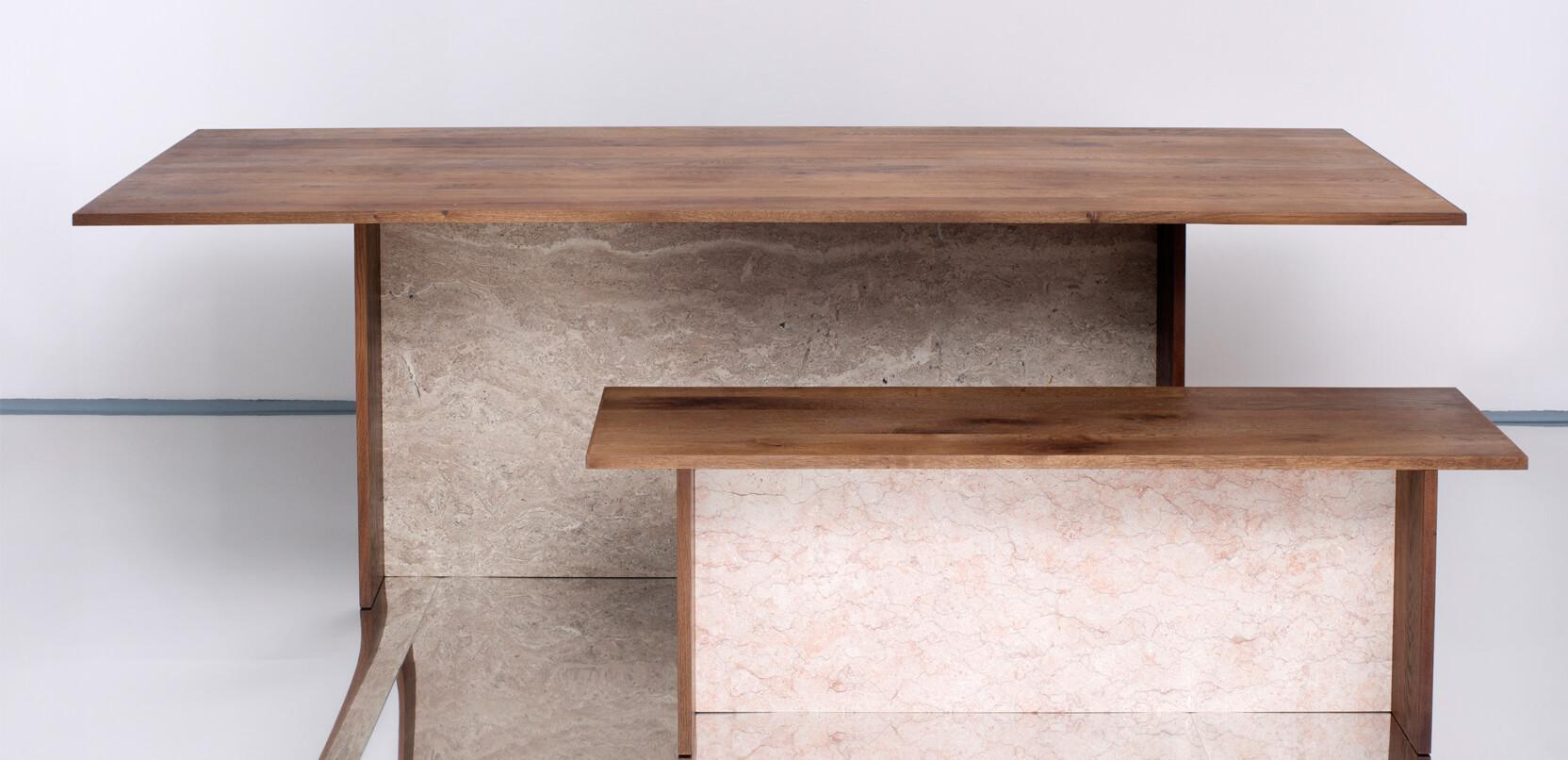 Bench and table made from antique recycled oak wood,  marble and travertine