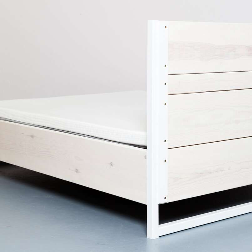 Upcycling bed made from recycled timber and steel