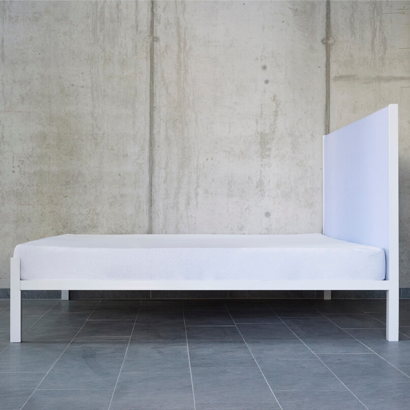 JOHANENLIES Freya bed with a woolen headboard with upholstery by KVADRAT by Raf Simons and a steel frame