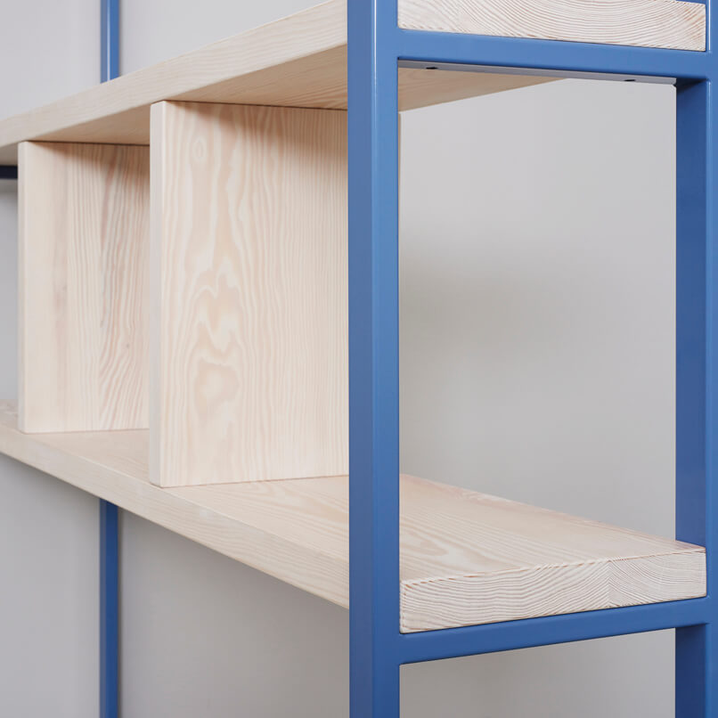 SUSTEREN shelf made from recycled timber with a steel frame in powderblue
