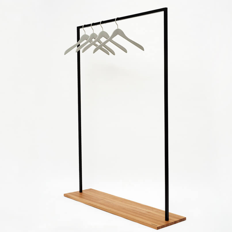 HANGON clothes rail made from recycled oak and powder coated steel in a exquisite minimalisic design.