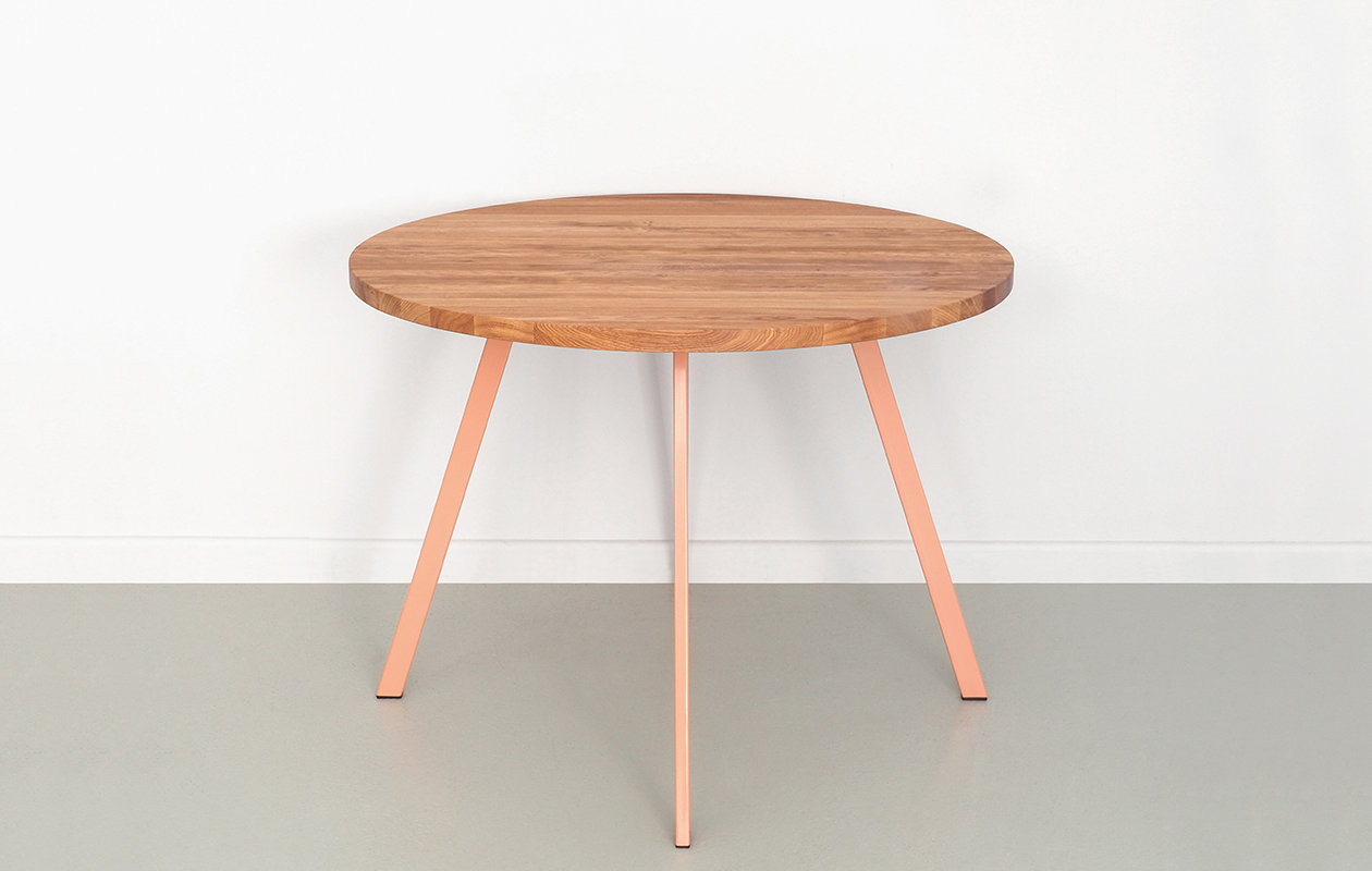 - Round Oak And Steel Upcycling Table - POLPO By JOHANENLIES